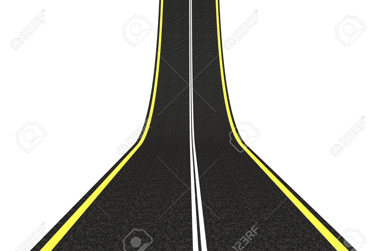 Idea concept. Asphalt road come up on a white background Stock Photo - 19424279