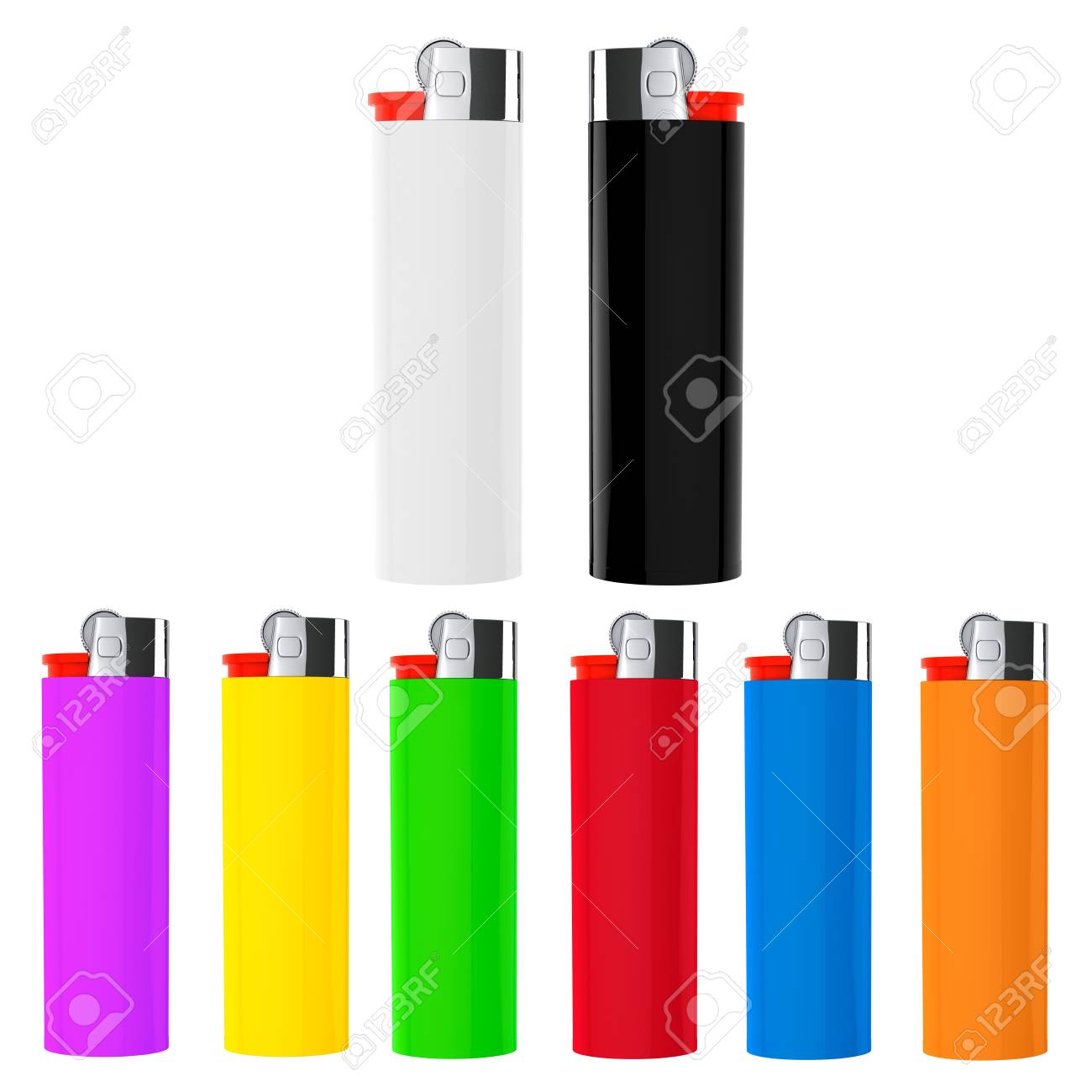 Set of Multicolor closeup cigarette lighters on a white background Stock Photo - 21221702
