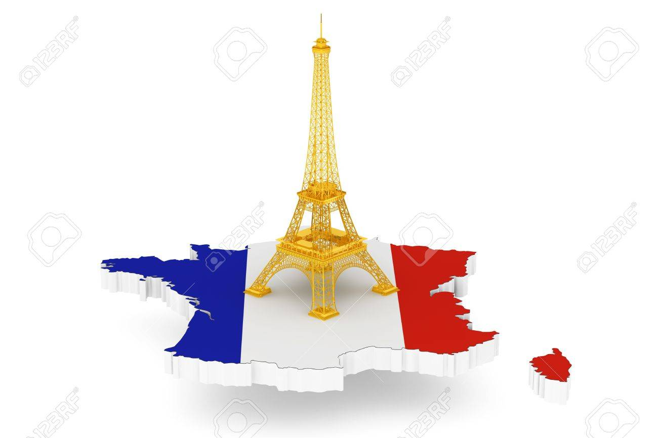 Map Of France Eiffel Tower.Golden Eiffel Tower Over France Map On A White Background