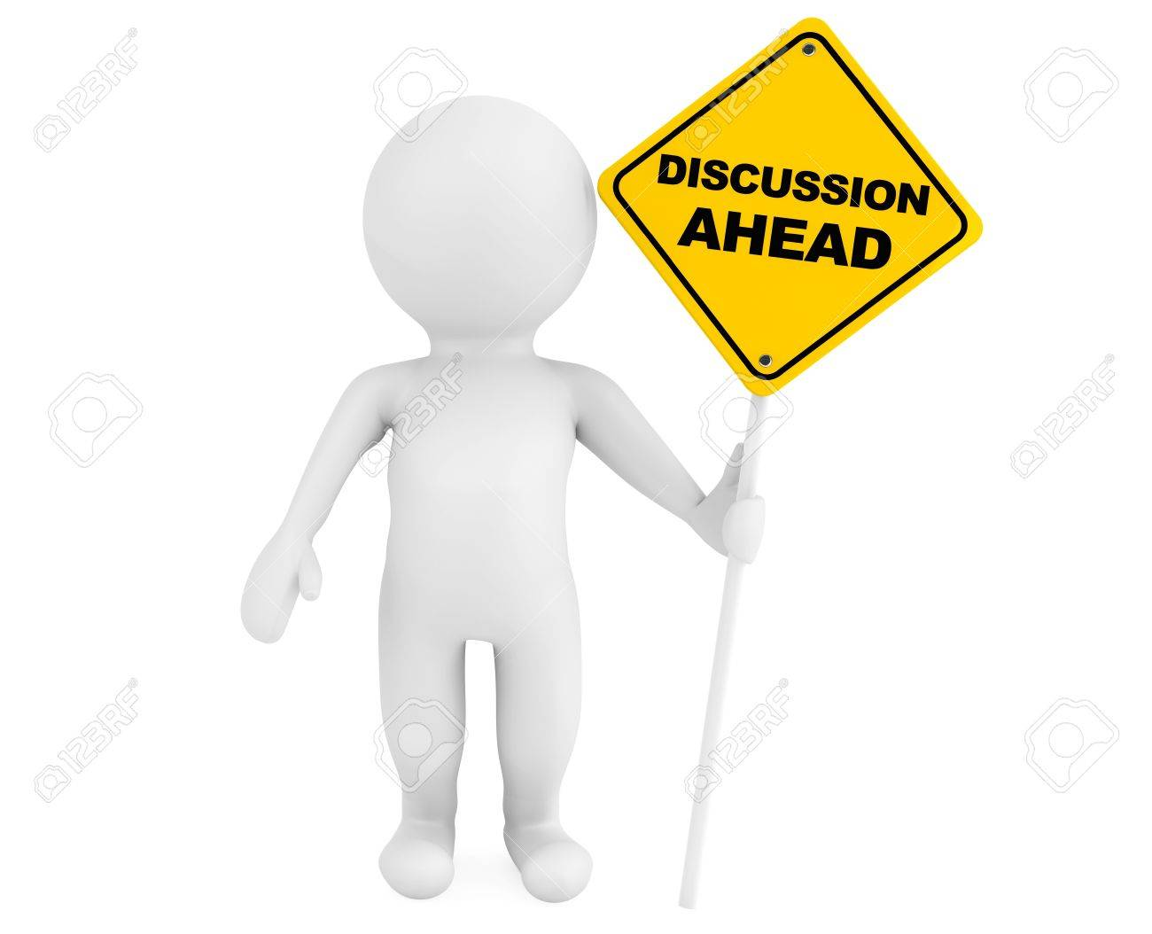 3d person with Discussion Ahead traffic sign on a white background Stock Photo - 21947172