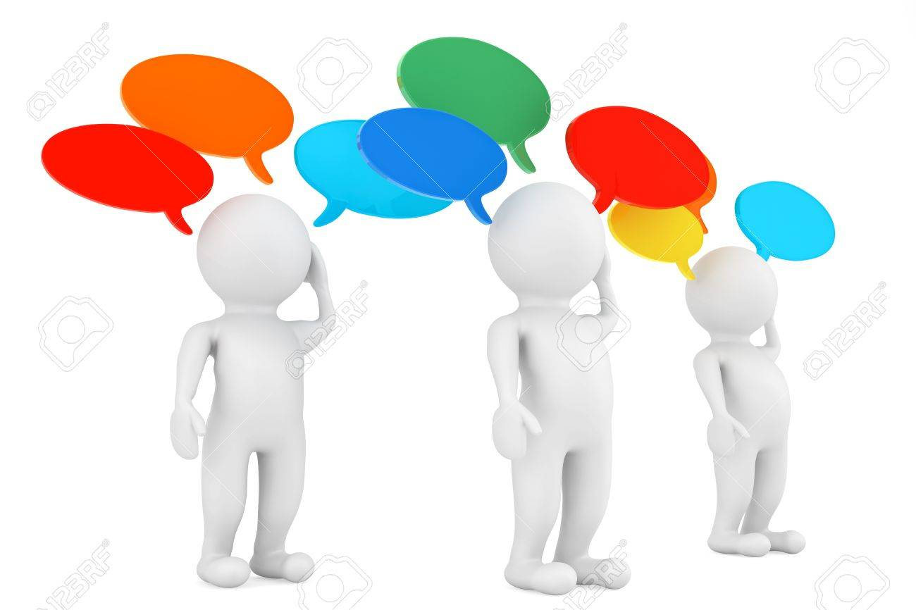 Ideas Concept. 3d Persons with thought bubbles on a white background Stock Photo - 21947177