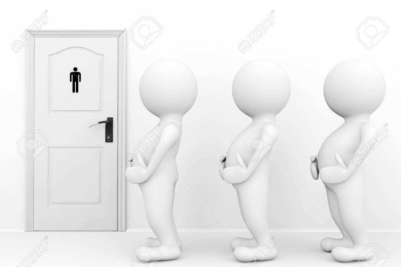3d persons mans need a toilet waiting in front of restroom sign Stock Photo - 22267104