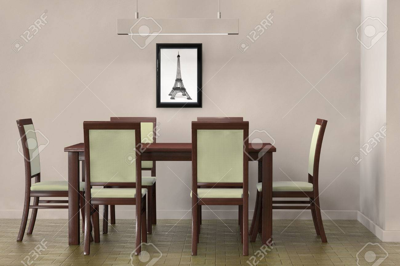 Living Room Setting. Modern Table And Chairs To Face A Blank Wall Stock  Photo