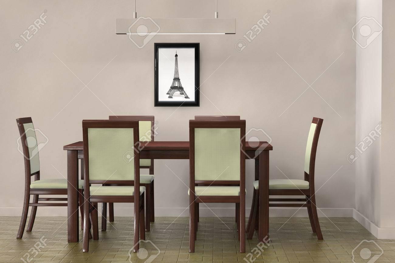 Wohnzimmer-Einstellung. Moderne Tisch Und Stühle, Eine Leere Wand ...