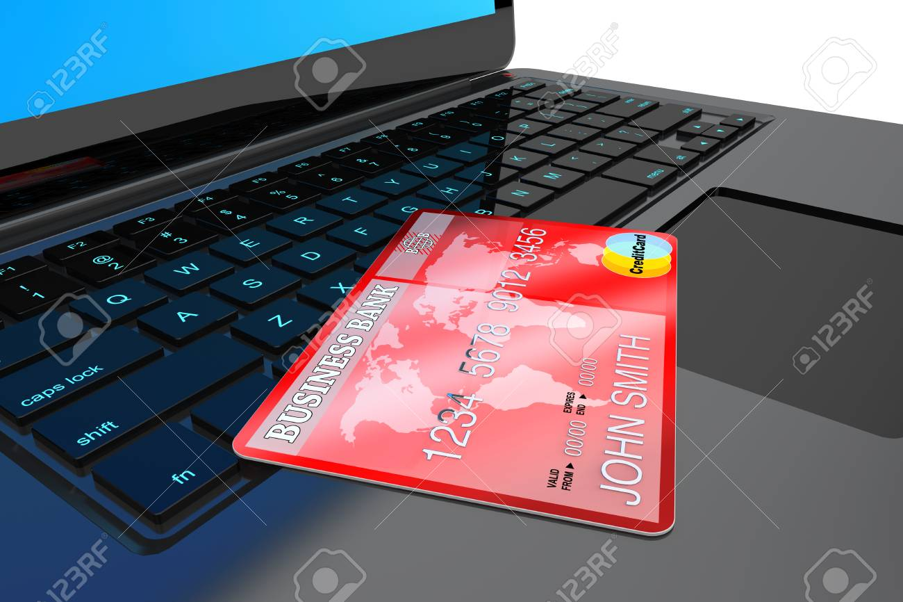 E-commerce Concept. Laptop computer and Credit Card on a white background Stock Photo - 24131618