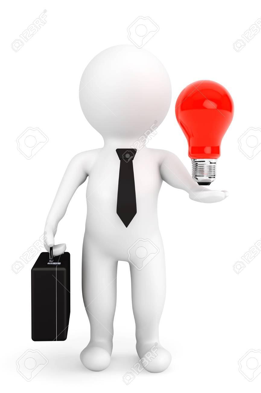 3d Person Businessman With Idea Bulb Over Hand On A White Background Stock Photo