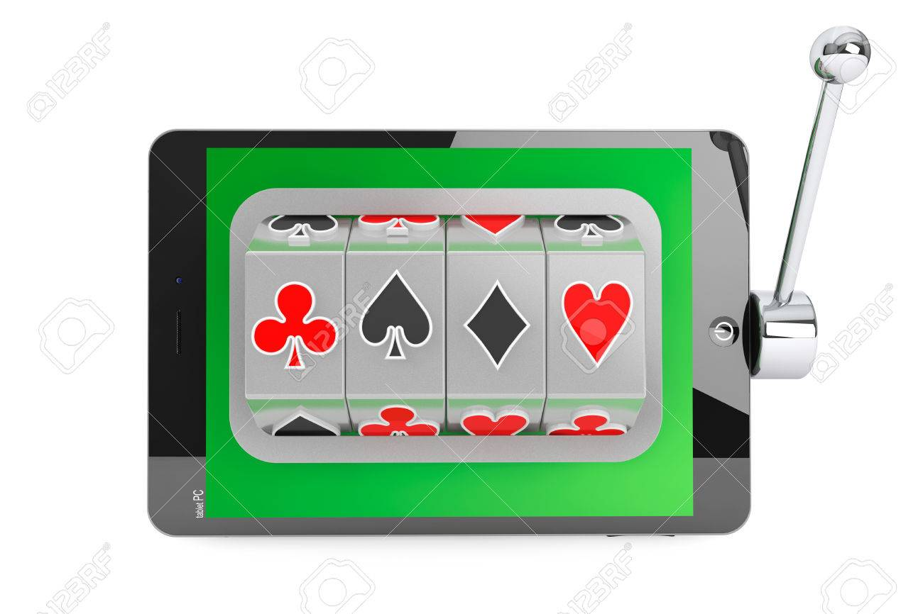 Astonishing Online Casino Concept Slot Machine Inside Tablet Pc On A White Wiring Digital Resources Indicompassionincorg