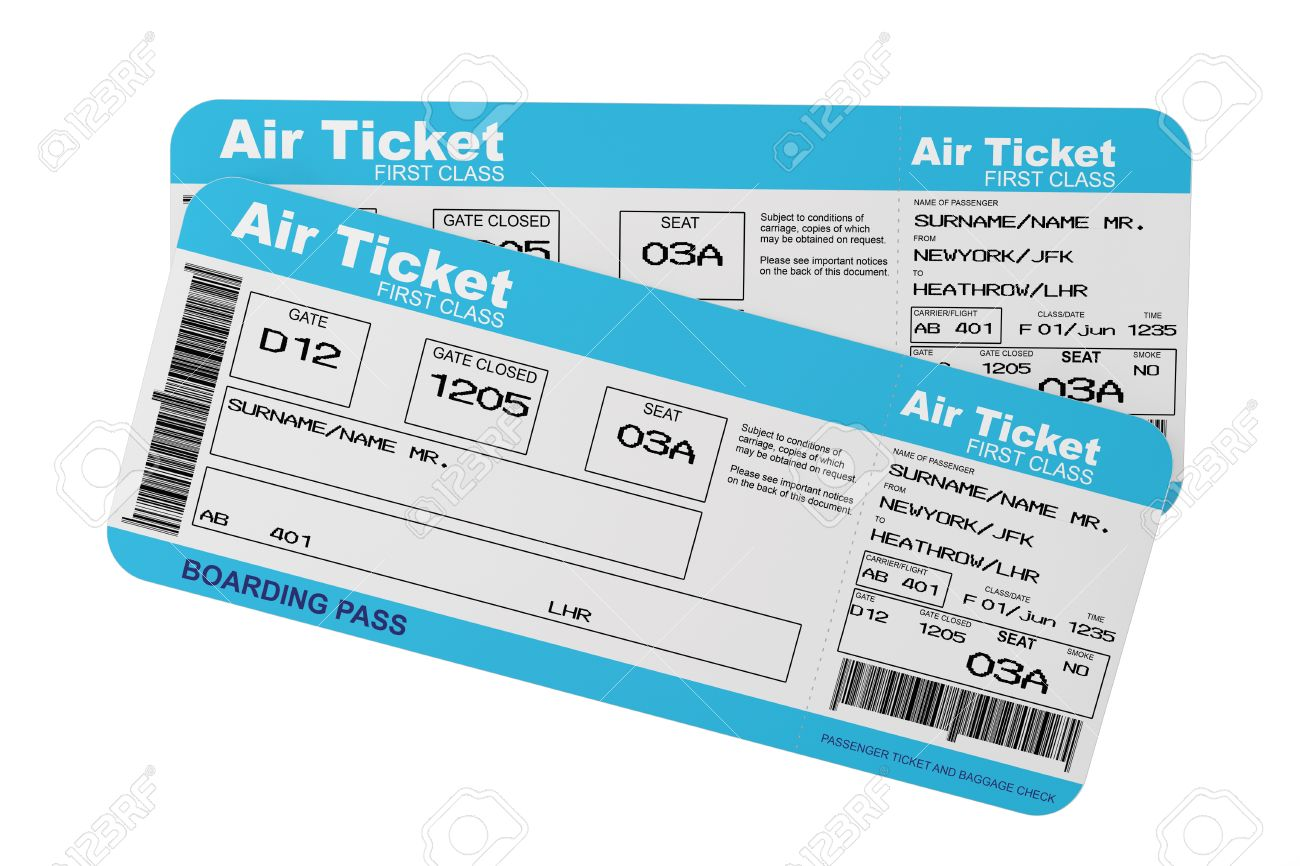 Airline Boarding Pass Tickets On A White Background Stock Photo