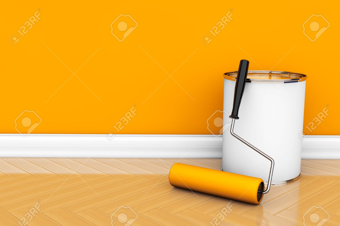 Painting Of Walls In A Orange Color. Paint Can With Roller Brush ...