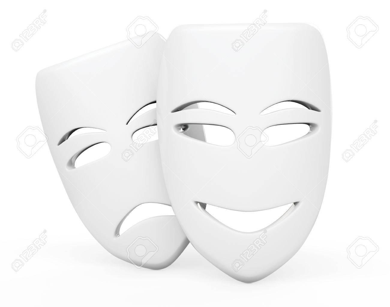 Tragi Comiques Théâtre Masques Masques Tristes Et Sourire Sur Un