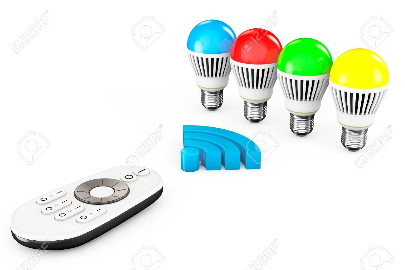 Nahaufnahme LED-Lampen Mit Fernbedienung Und WiFi-Zeichen Auf Weißem ...