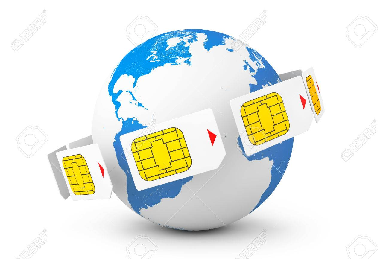 Mobile Telecommunication Concept  Macro View of Sim Cards around