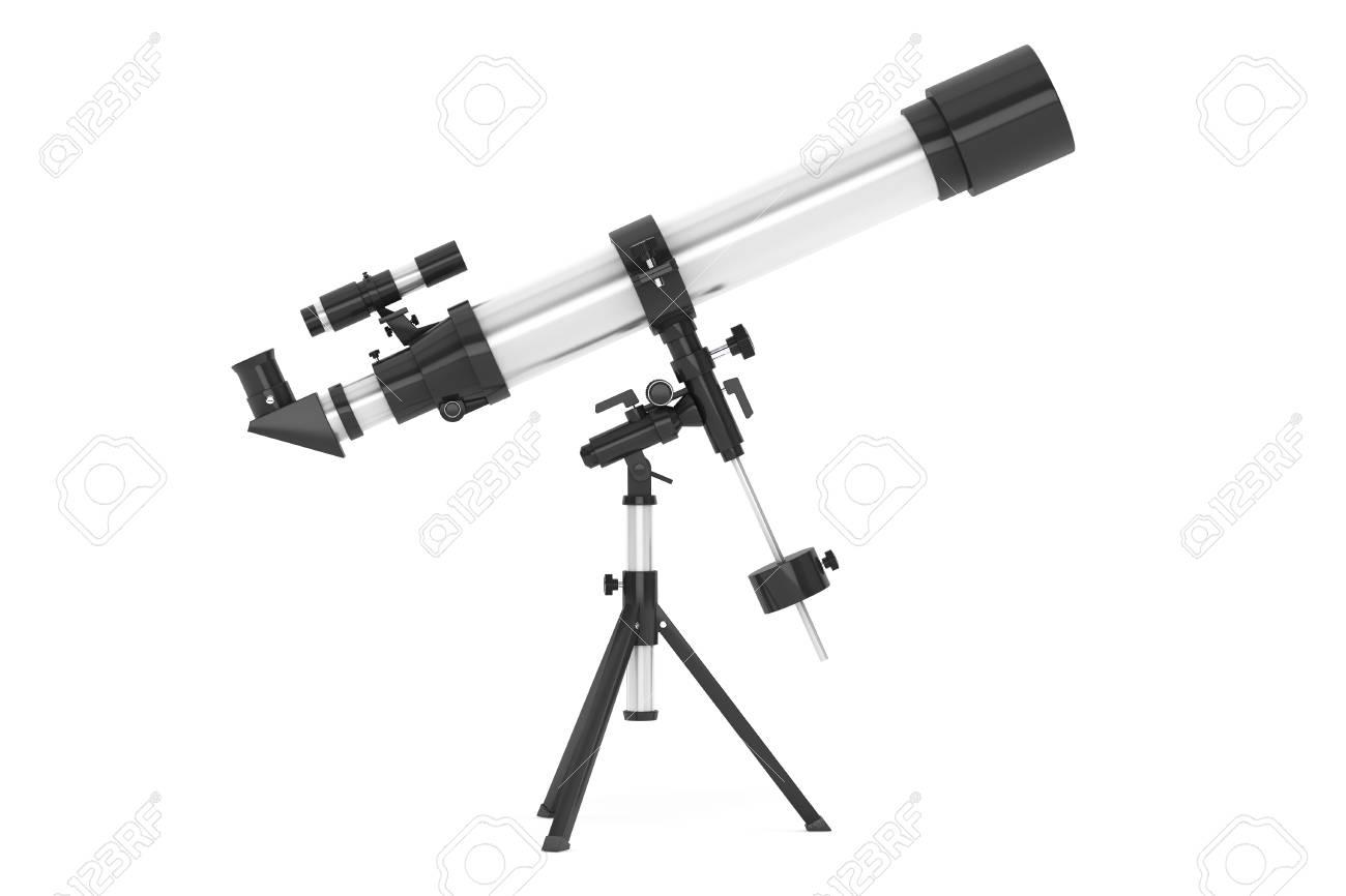 Silber teleskop auf stativ über weißem hintergrund lizenzfreie