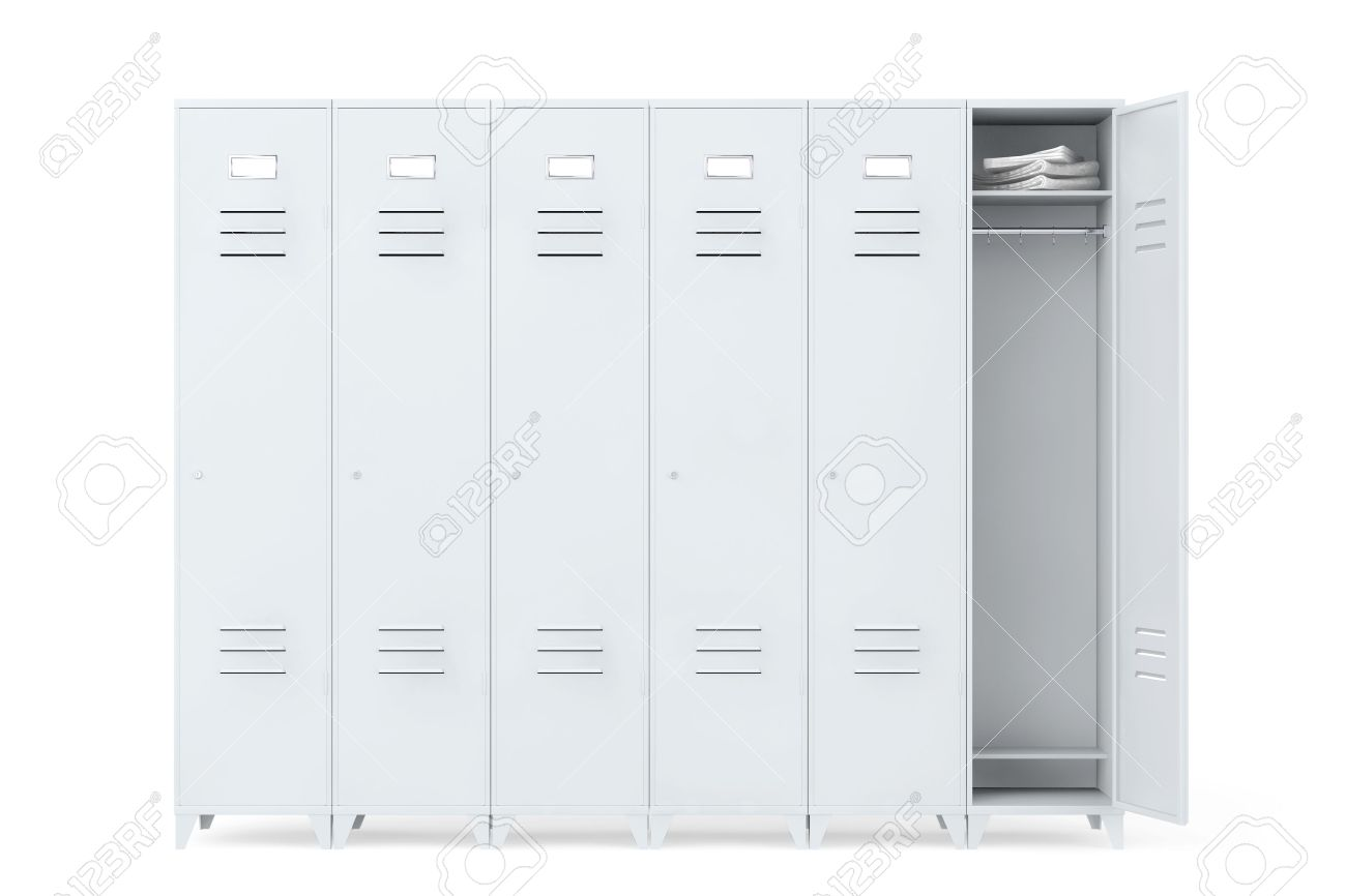 grey metal lockers on a white background stock photo