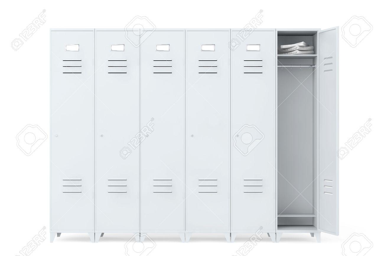 grey metal lockers on a white background stock photo - Metal Lockers