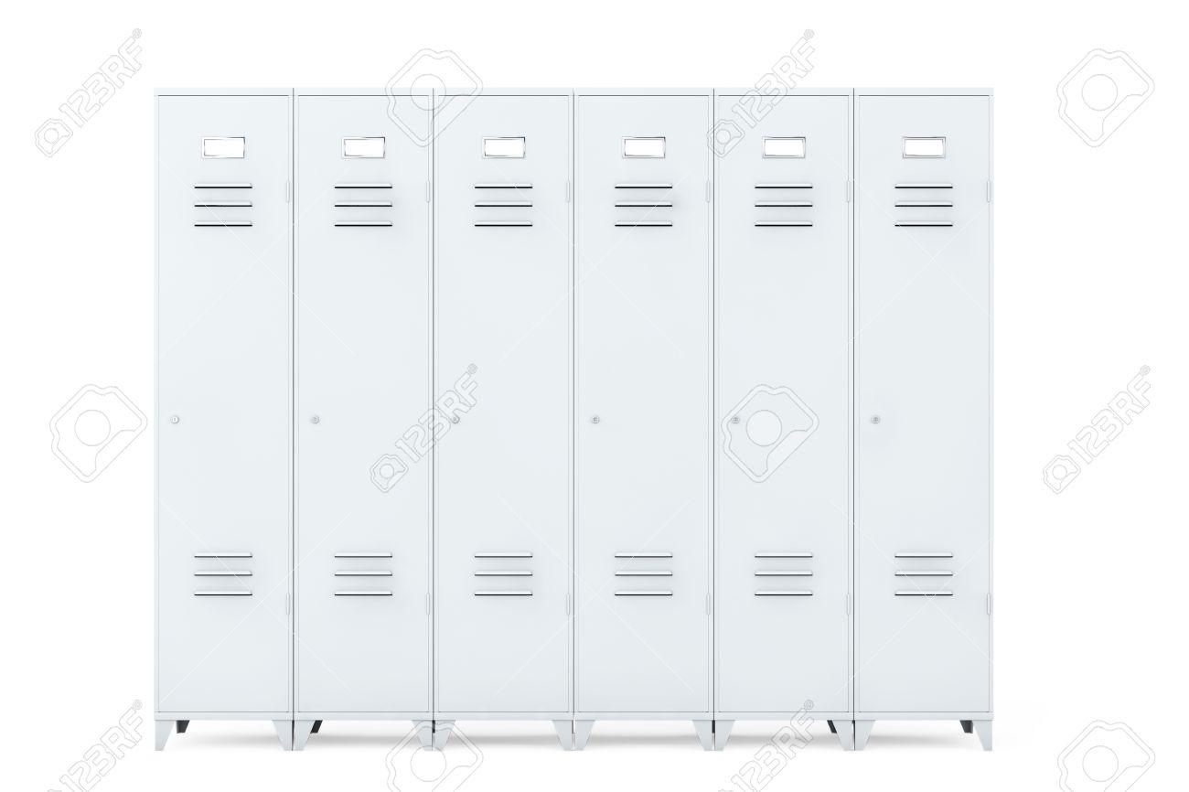 Grey Metal Lockers On A White Background Stock Photo   41682595
