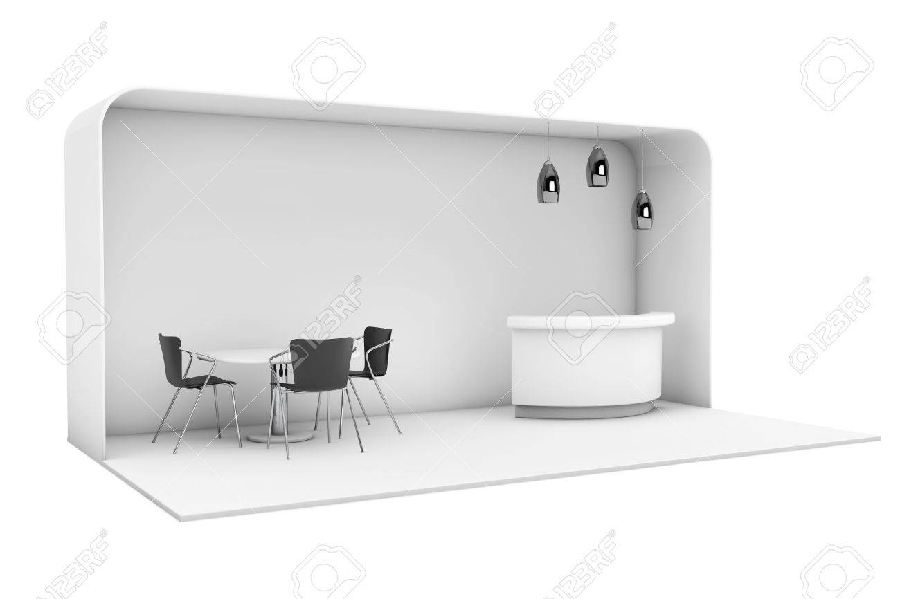 Exhibition Stand White : Trade commercial exhibition stand on a white background d