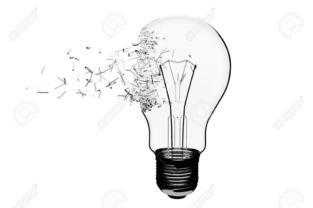 Idee Konzept Gl Hbirne Explodieren Auf Einem Wei En Hintergrund