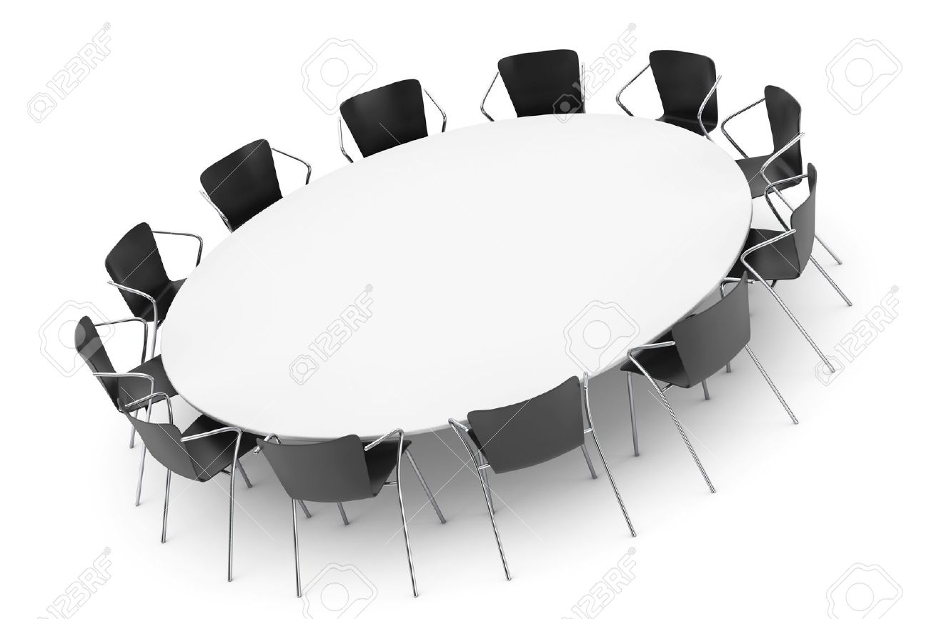 Conference Round Table And Office Chairs On A White Background Stock Photo