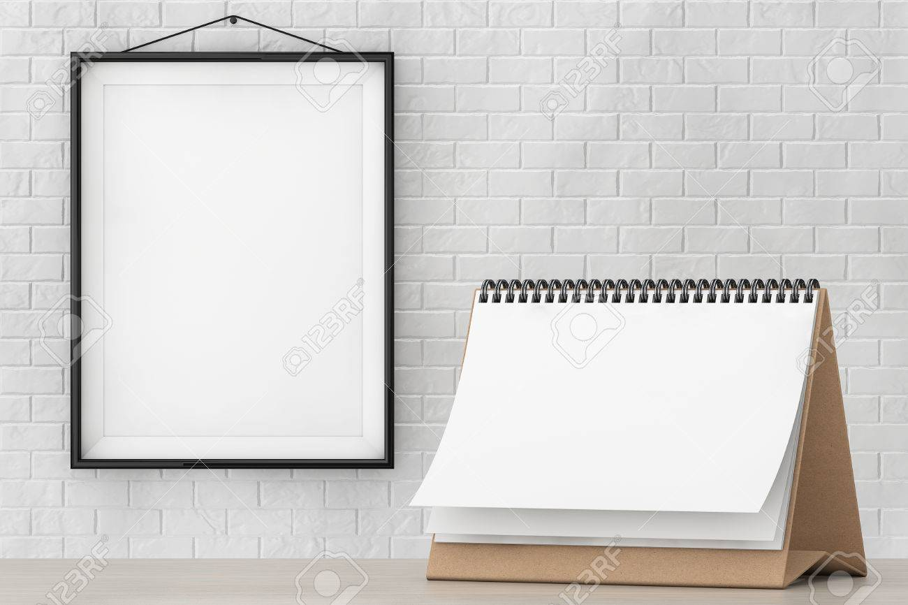Blank Paper Desk Spiral Calendar In Front Of Brick Wall With.. Stock ...