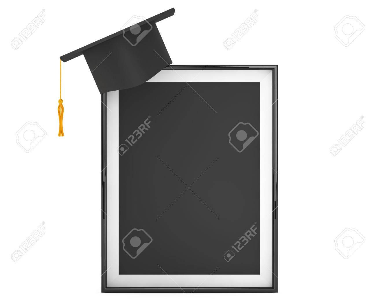 Graduation Academic Cap Mit Blank Bilderrahmen Auf Einem Weißen ...