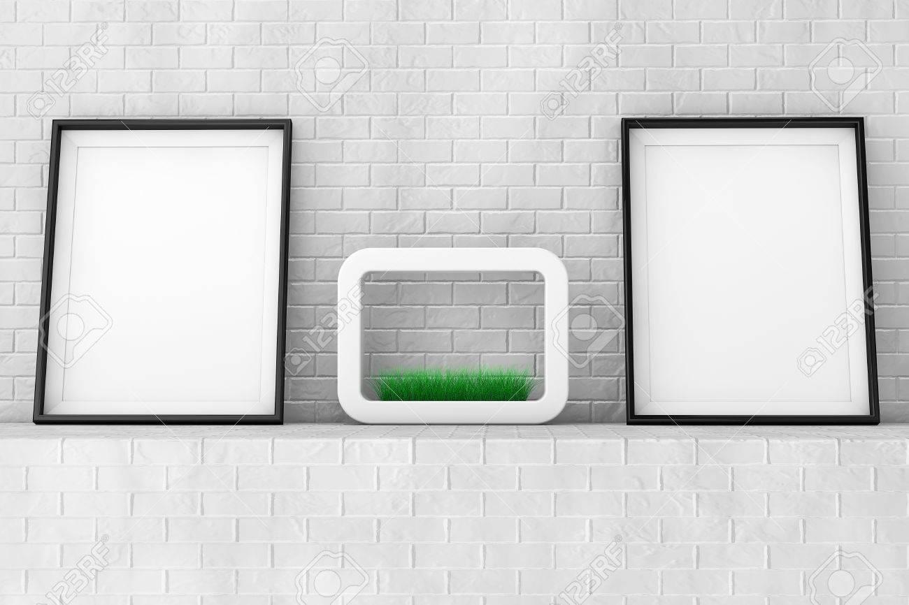 Blank Bilderrahmen Mit Gras In Weißer Keramik Pflanzer Auf Der Mauer ...