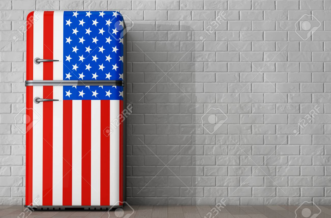 Kühlschrank Usa Retro : Retro kühlschrank mit den usa flagge vor ziegelmauer. 3d rendering