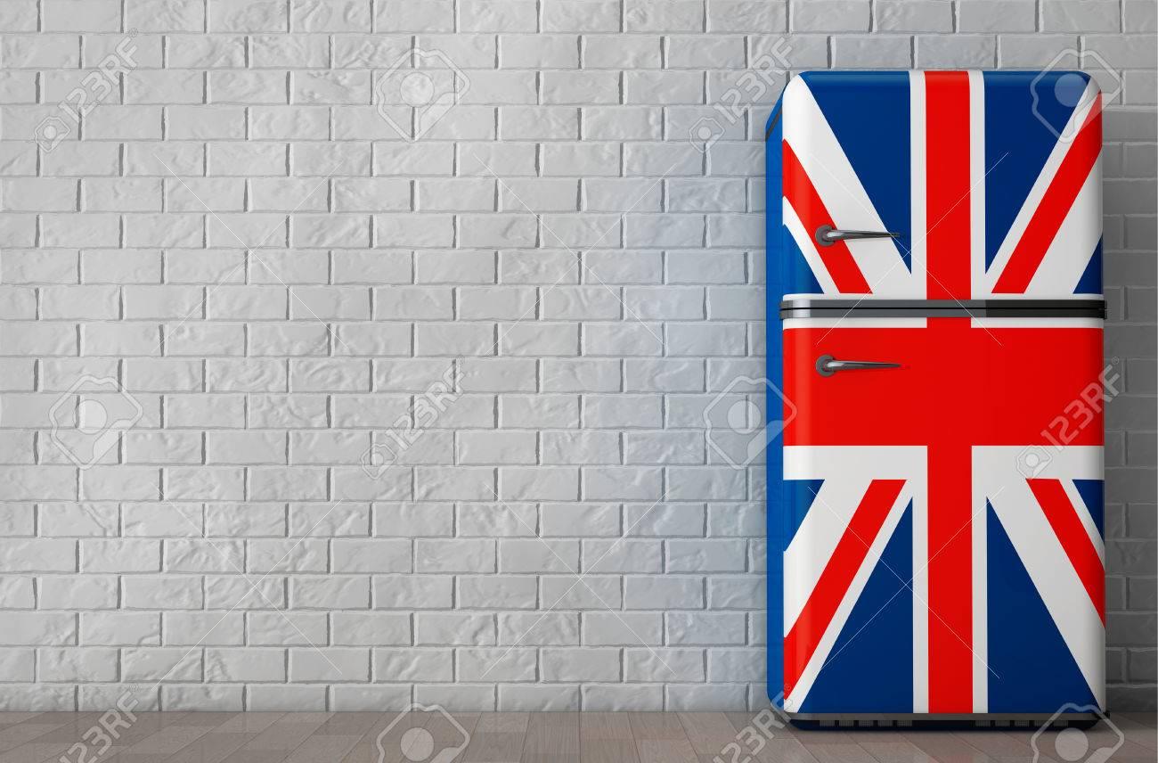 Retro Kühlschrank Union Jack : Retro kühlschrank mit der britischen flagge vor der mauer