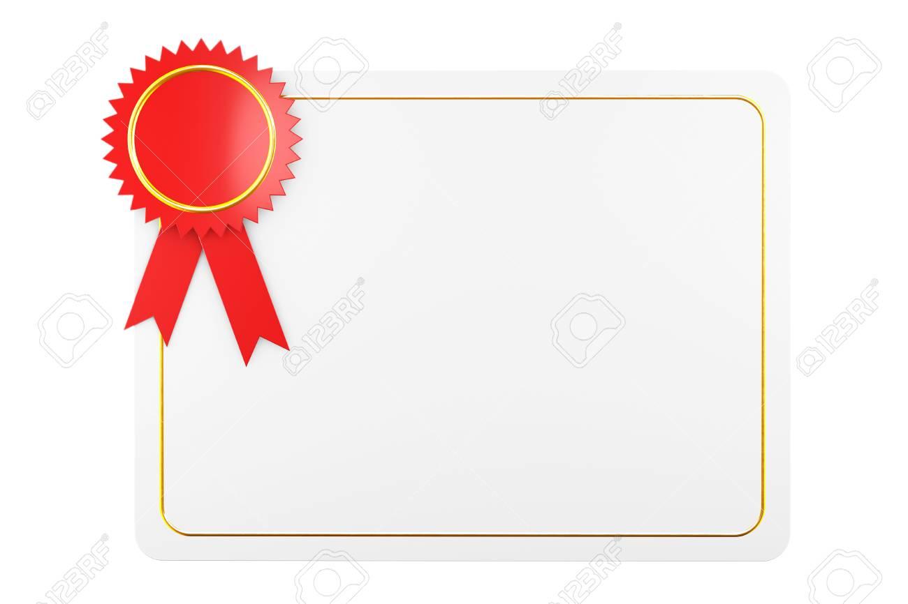 Modèle De Diplôme Certificat Vierge Sur Un Fond Blanc Rendu 3d