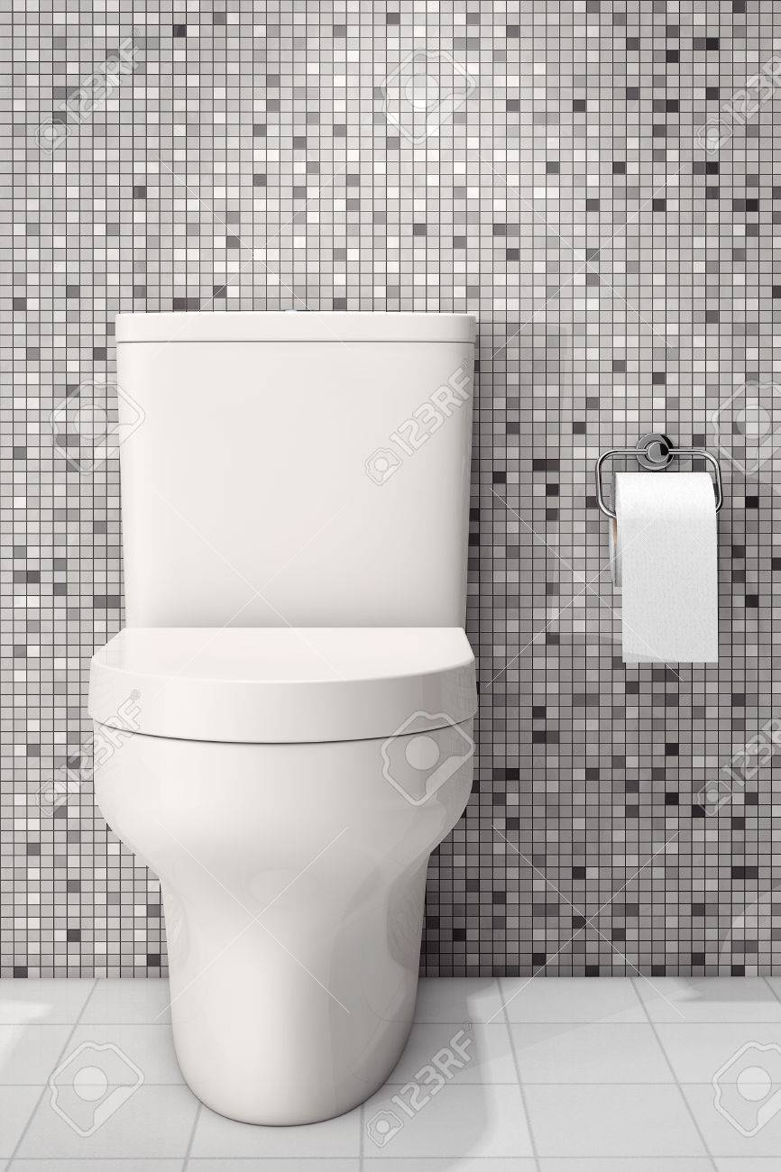 White Ceramic Toilet Bowl In Front Of Tiles Wall. 3d Rendering Stock ...