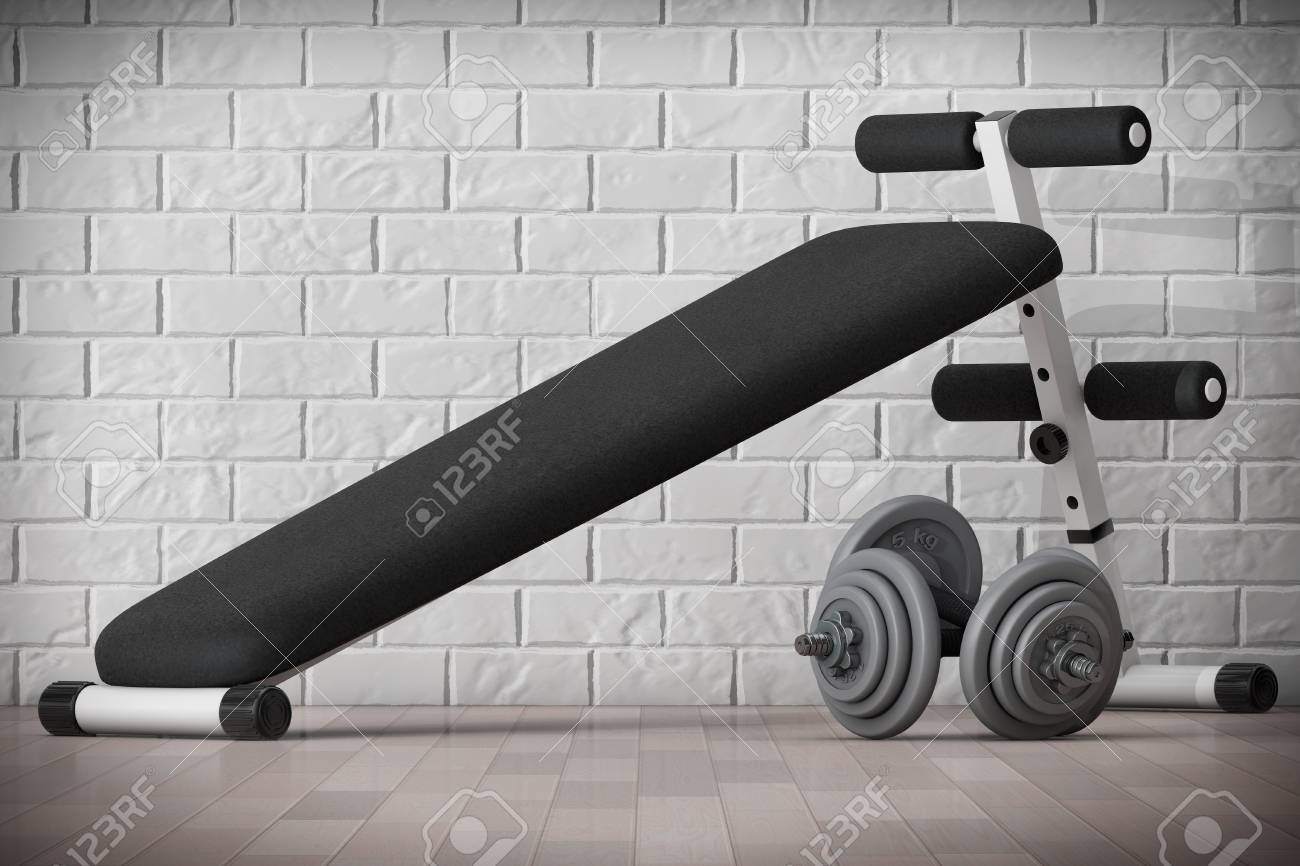 Wondrous Exercise Bench Gym Equipment In Front Of Brick Wall 3D Rendering Dailytribune Chair Design For Home Dailytribuneorg