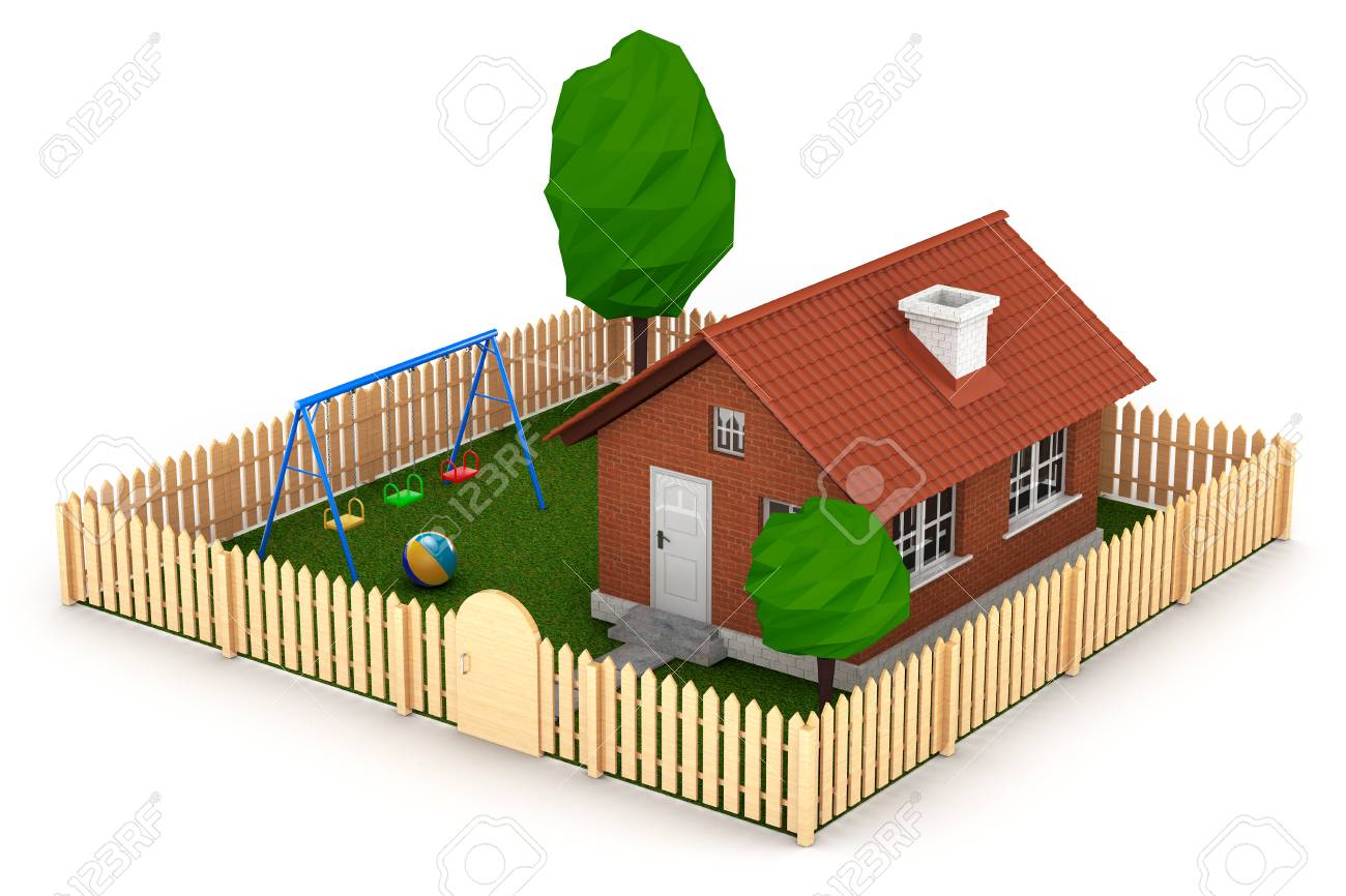 Petite Cloture De Jardin Blanche concept immobilier petite maison avec clôture et jardin sur un fond blanc.  rendu 3d