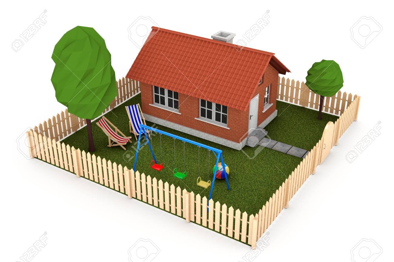 Petite Cloture De Jardin Blanche concept immobilier. petite maison avec une clôture et jardin sur un fond  blanc. 3d rendu