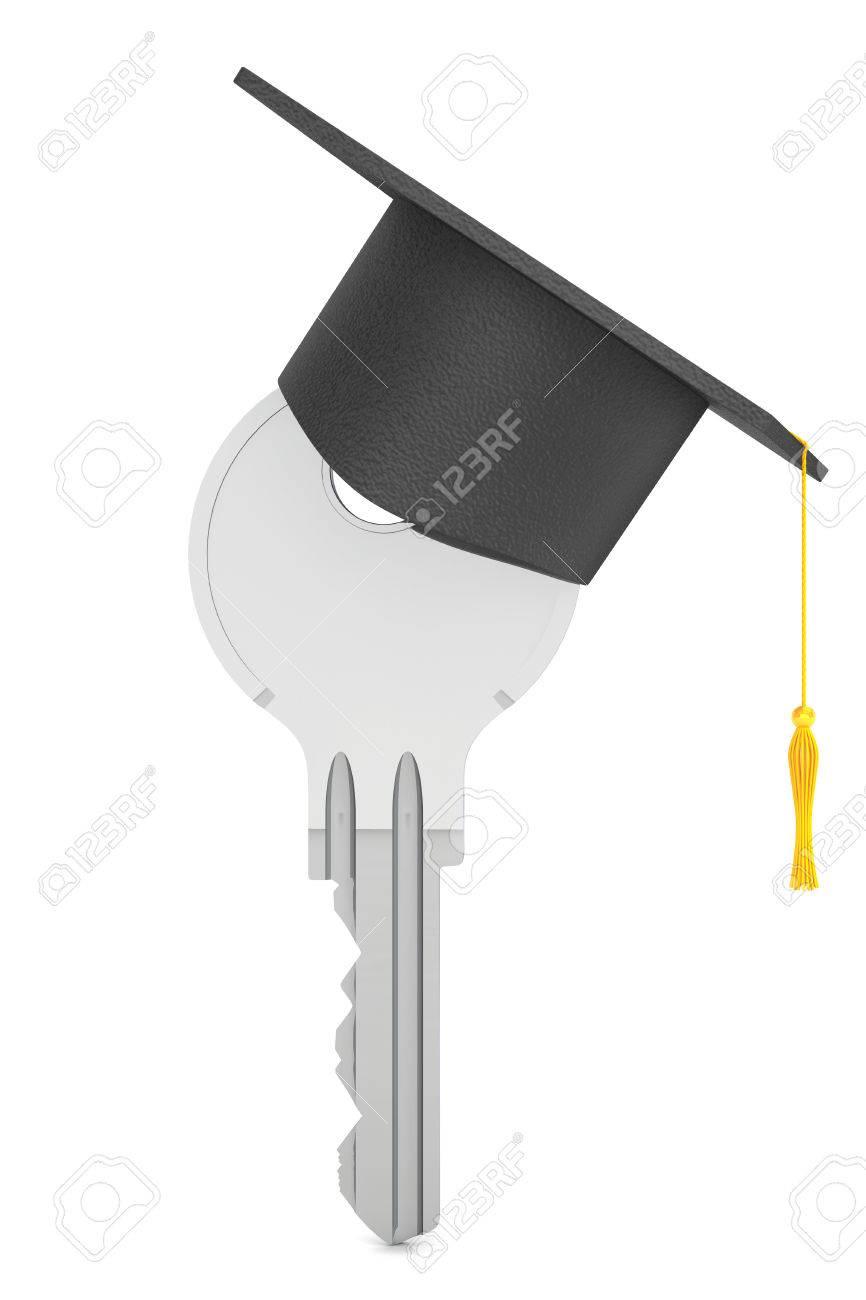 Bildung Konzept Key Mit Abschluss Hut Auf Einem Weißen Hintergrund