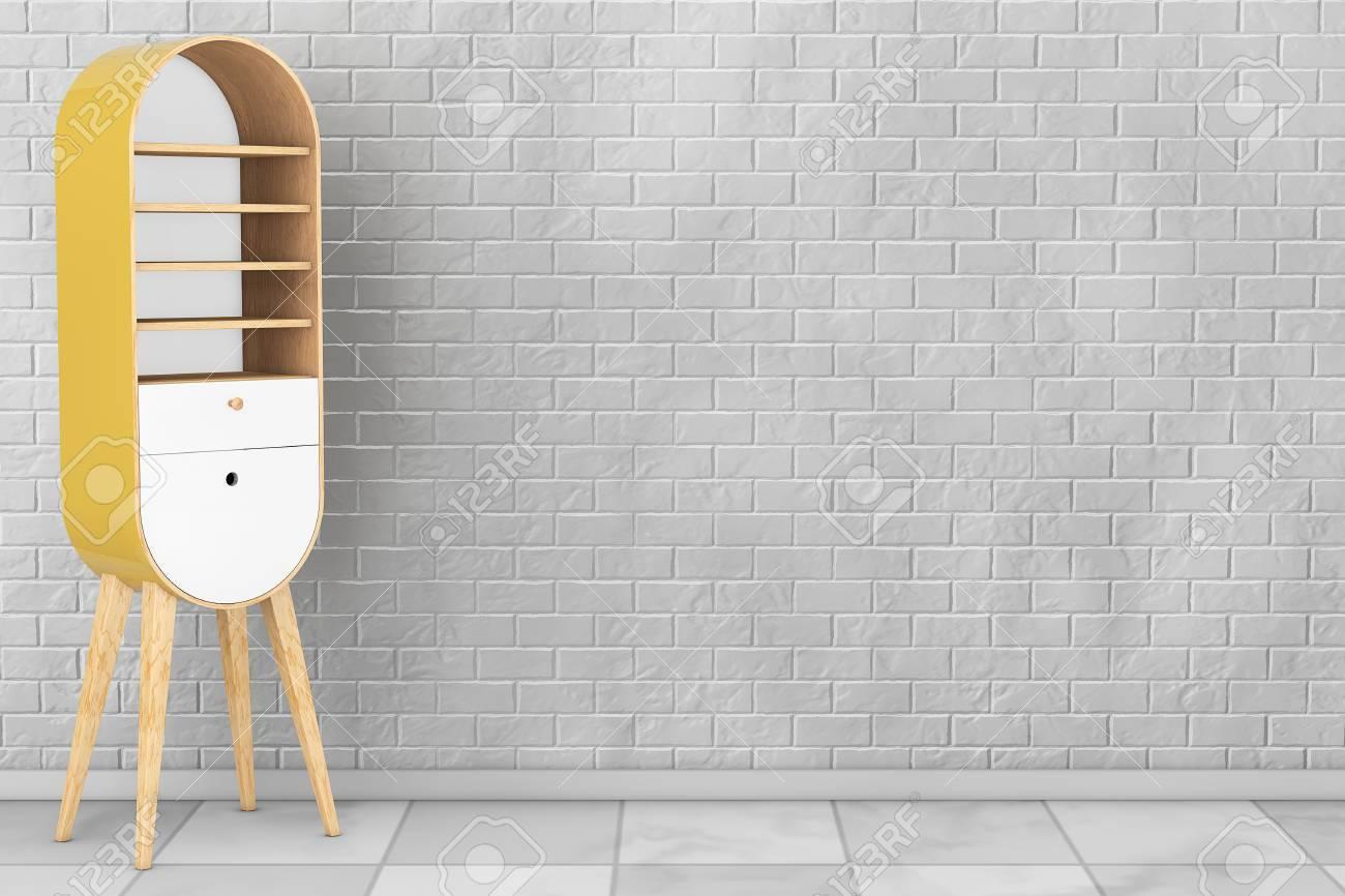 Vintage-Holz-Küche-Kabinett Vor Mauer. 3D-Rendering Lizenzfreie ...