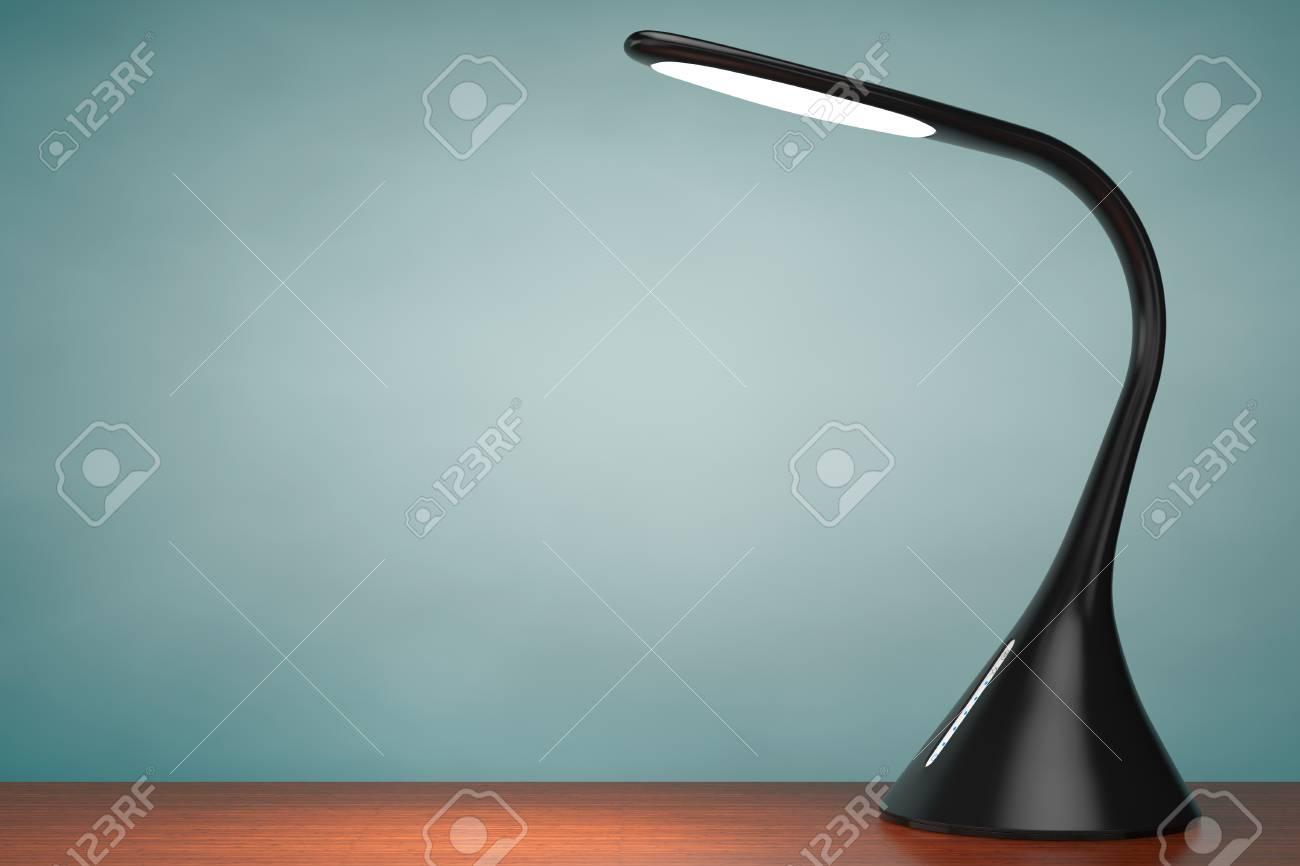 una en del escritorio del sensor de tabla lámpara LED de negra maderaRepresentación Concepto 3D de dCtQsxhr