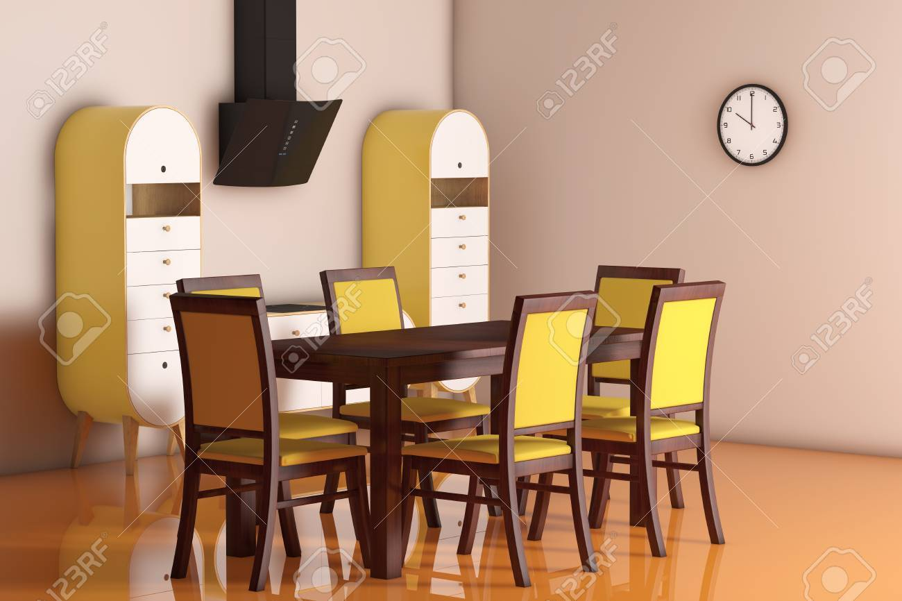 Simple Modern Olive - Green Kitchen with table and chairs extreme..
