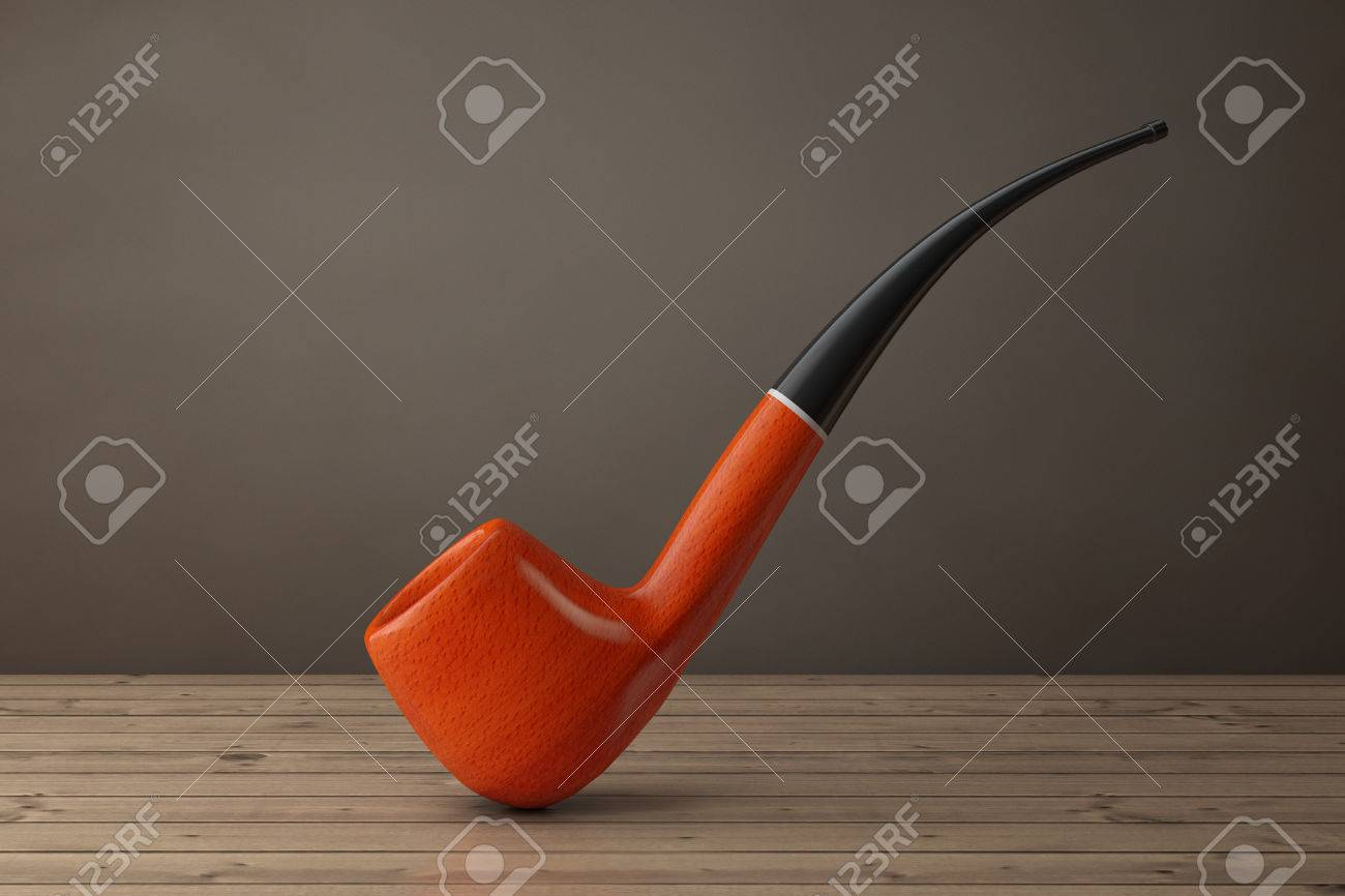 Tobacco Smoking Pipe on a wooden table  3d Rendering