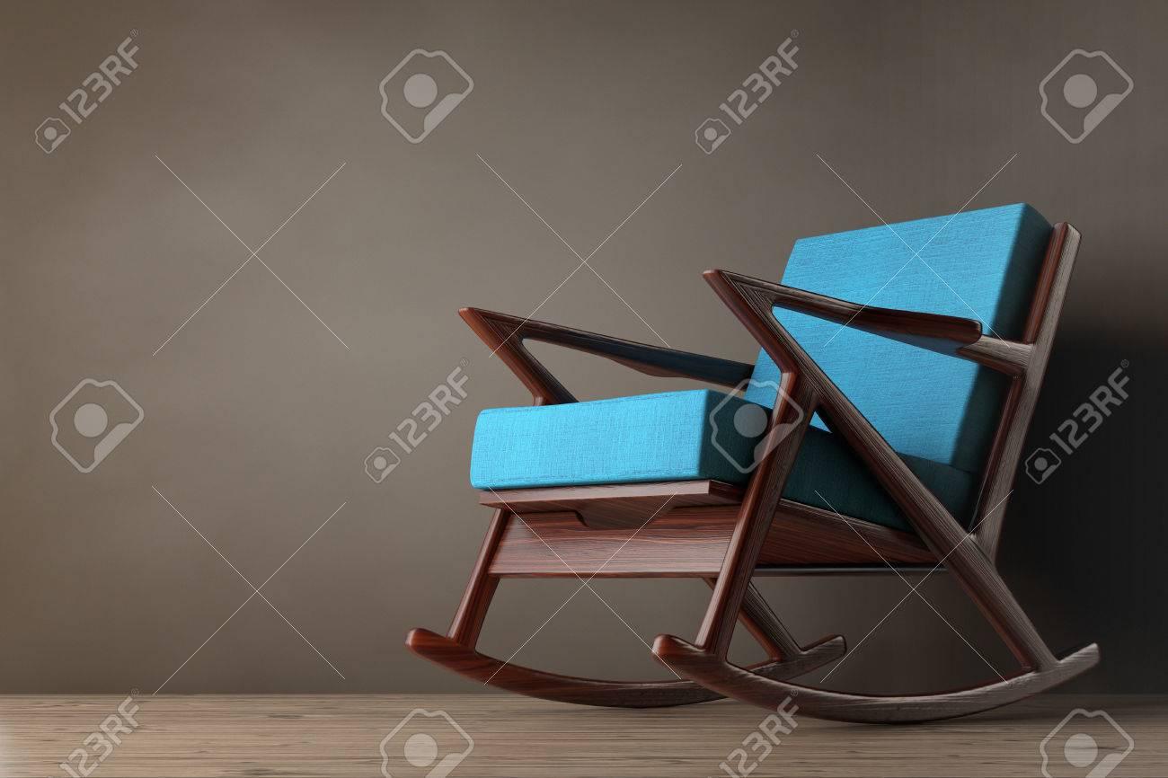 Rocking Chair Rembourrée Avec Tissu Bleu Sur Un Plancher En Bois 3d