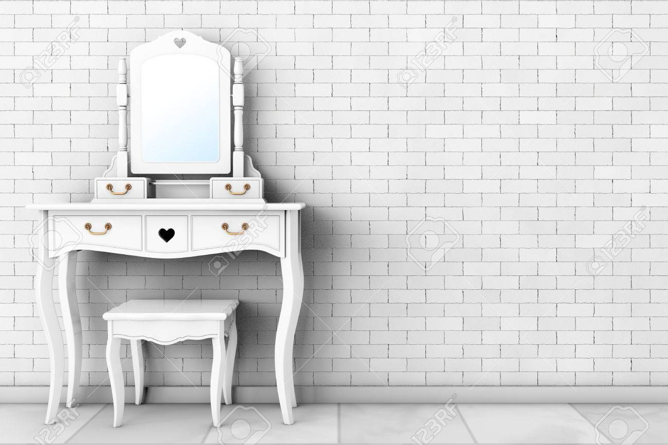 Antique Bedroom Vanity Table With Stool And Mirror In Front Of Stock Photo Picture And Royalty Free Image Image 68413805