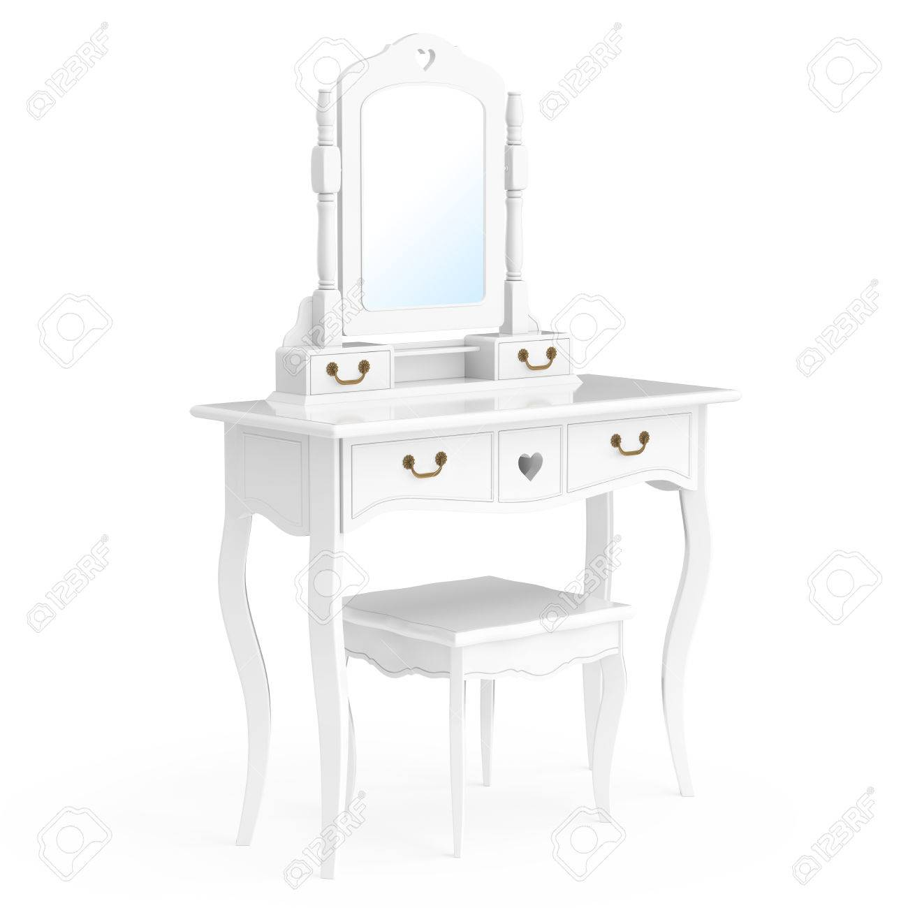 Antique Bedroom Vanity Table With Stool And Mirror On A White Background.  3d Rendering Stock