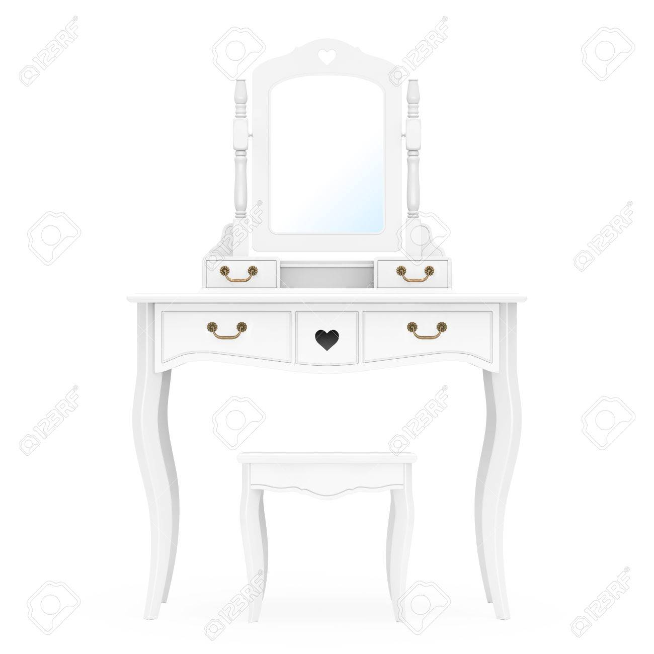 Antique Bedroom Vanity Table with Stool and Mirror on a white..