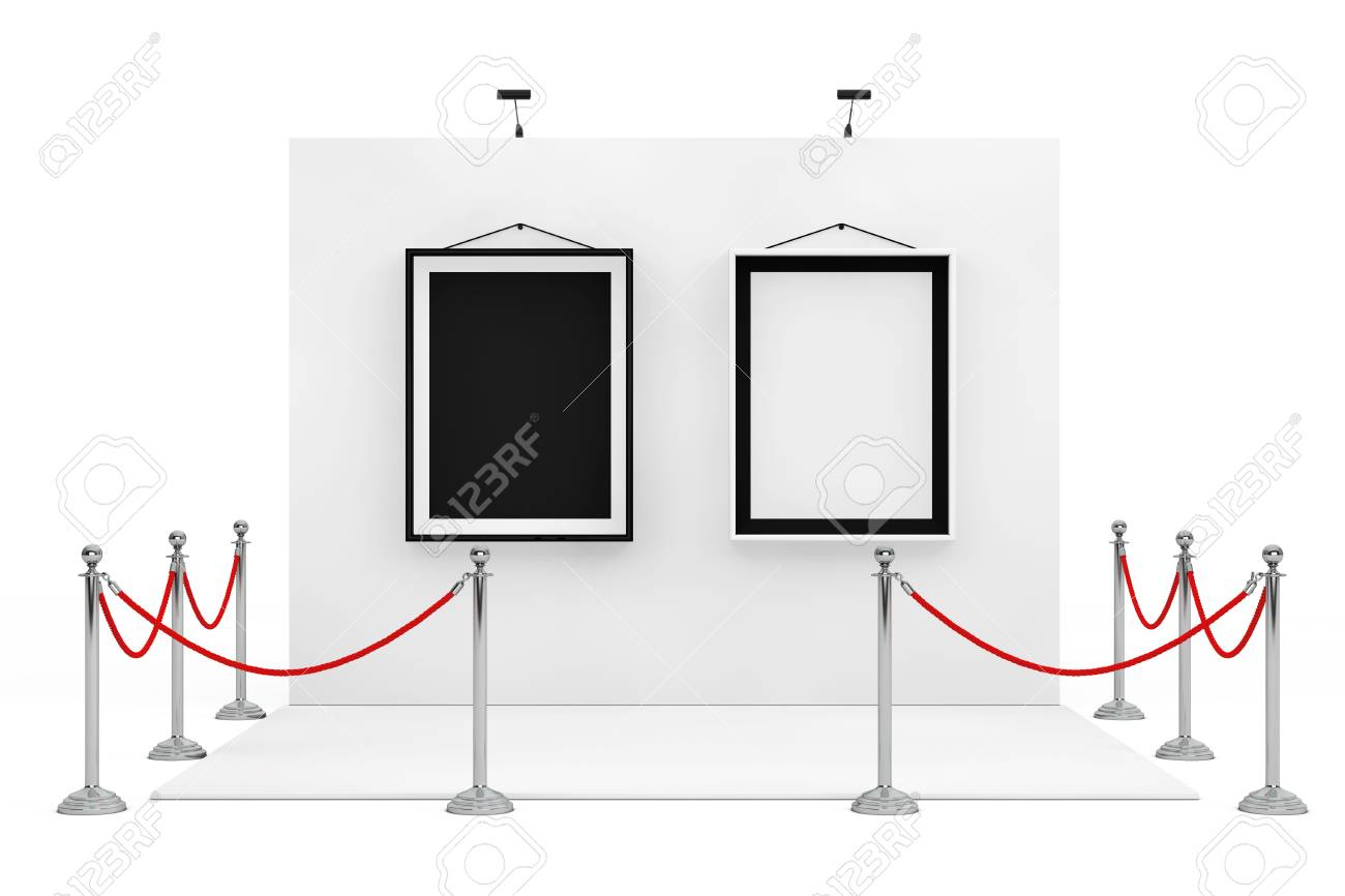 Barrier Rope Around Trade Show Booth With Black And White Picture ...