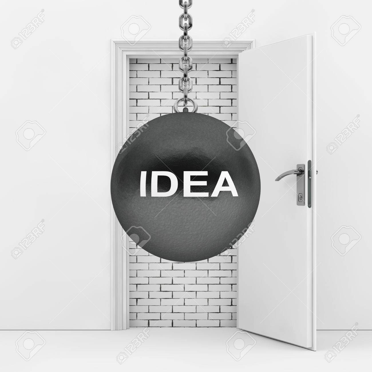 Stock Photo - Wrecking Ball with Idea Sign Ready to Destroy Brick Wall wich Blocked White Opened Door extreme closeup. 3d Rendering. & Wrecking Ball With Idea Sign Ready To Destroy Brick Wall Wich ...