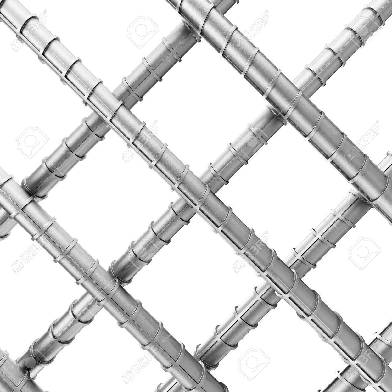 Metal Reinforcement Steel Rebars As Welded Wire Mesh On A White ...