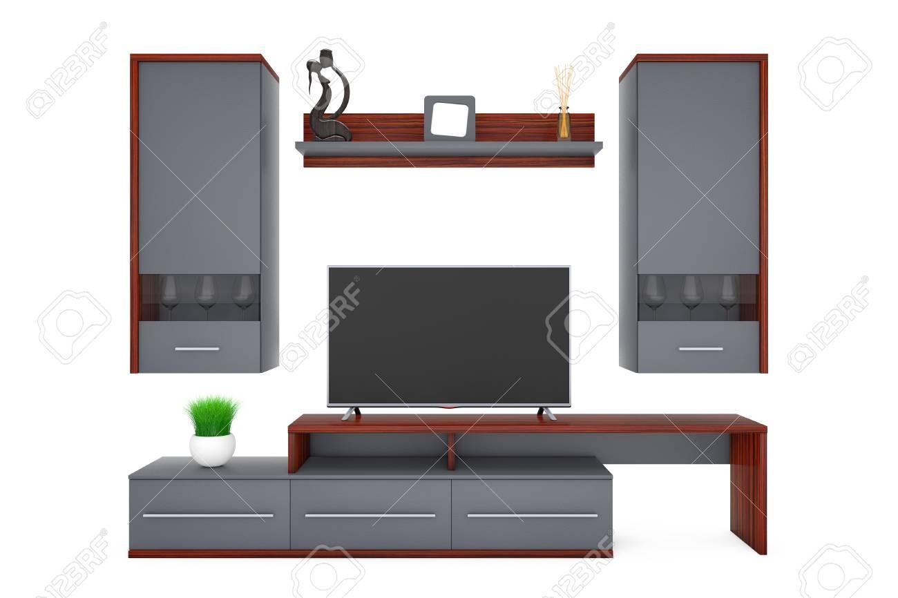 Moderne Wohnzimmer Wandschrank Auf Einem Weißen Hintergrund. 3D Rendering  Standard Bild   74435635