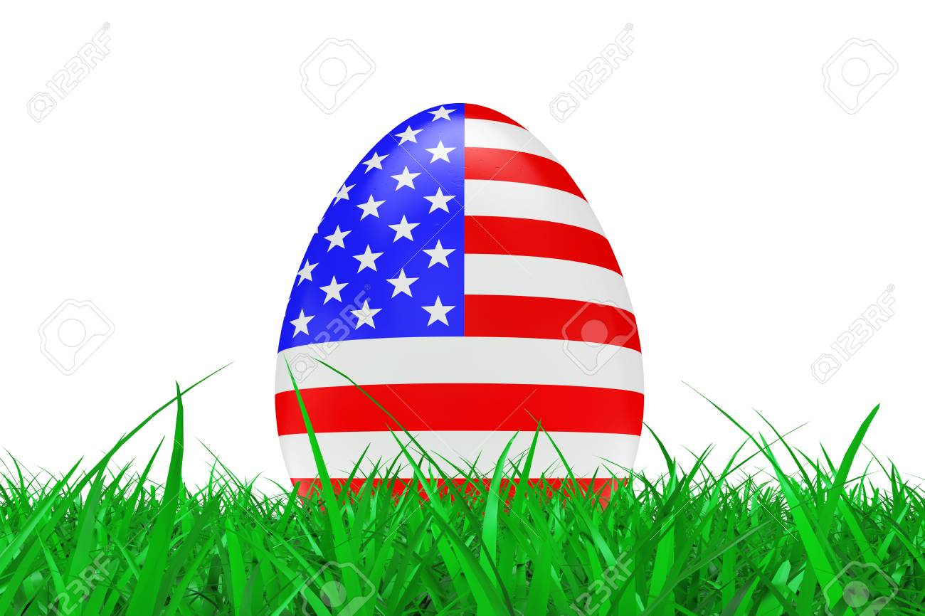 Easter Eggs with Flag of USA in Green Grass on a white background