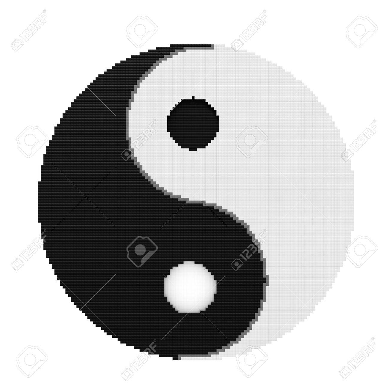 Yin Yang Symbol Of Harmony And Balance In Pixel Art Style On Stock