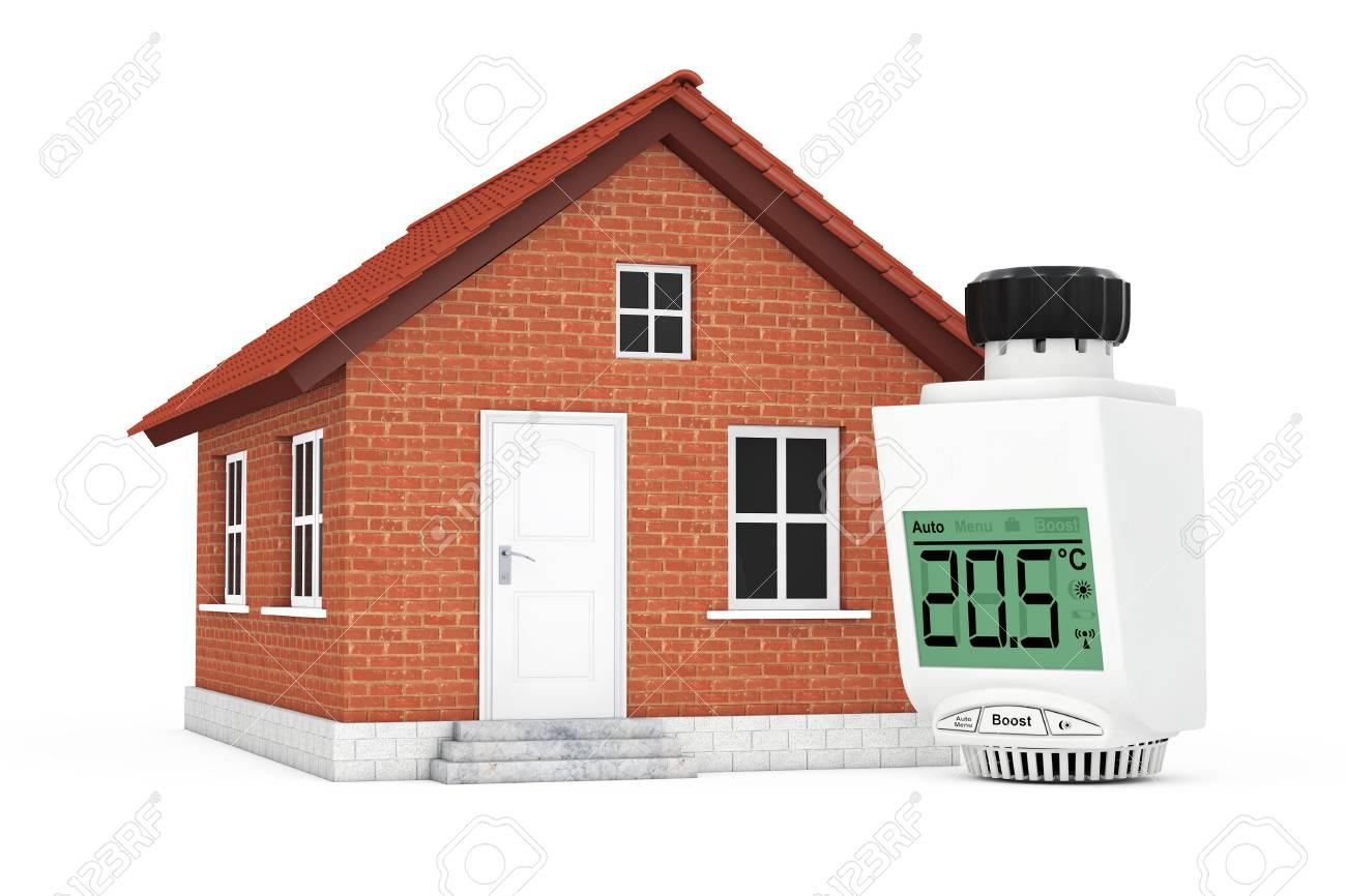 Digitaler Drahtloser Heizkörper Thermostatventil Nahe Haus Gebäude Auf  Einem Weißen Hintergrund. Wiedergabe 3d