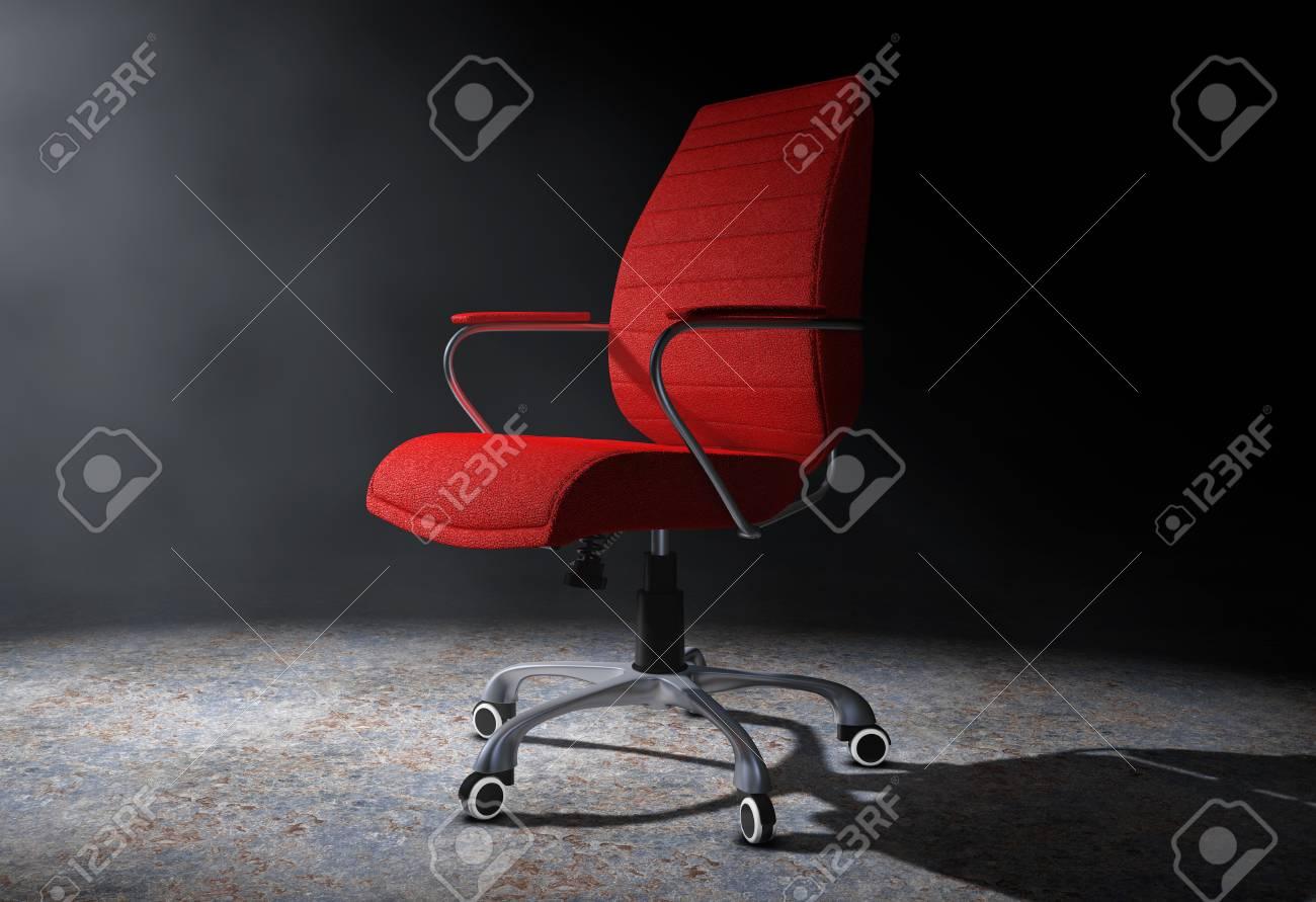 Chaise de bureau boss en cuir rouge dans la lumière volumétrique